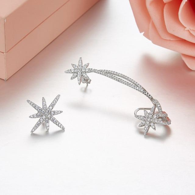 Sljely 925 Sterling Zilveren 2 Kleuren Asymmetrische Ster Fijne Oorbellen Micro Zirconia Stenen Vrouwen Luxe Merk Sieraden