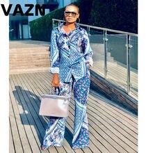 Vazn cor azul 2020 negócios senhora turn-down colar define manga longa calça longa 2 conjuntos de peice único-breasted magro feminino conjuntos