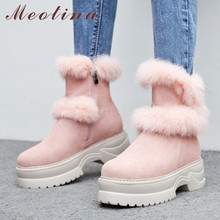 Meotina Real Fur Snow Boots Women Cow Suede Flat Platform Ankle Boots Genuine Leather Zipper Shoes Ladies Winter Pink Size 34-39 luxury women large natural fox fur snow boots waterproof genuine leather flat ankle boots winter real raccon fur boots