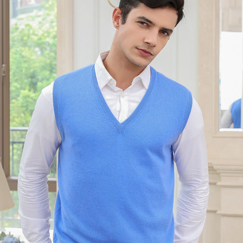 Hot Sale Winter Sleeveless Men Vest 100% Cashmere Knitted Pullovers 7Colors V-neck Jumpers For Man Winter Standard Sweaters