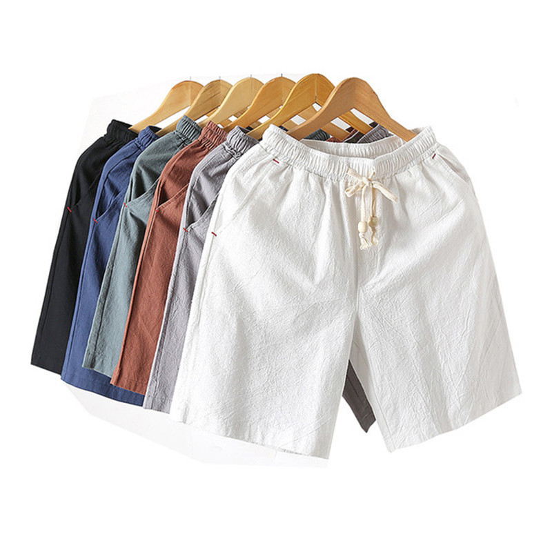2019 New Mens Solid Flax Shorts Chinese Style Linen Color Short trousers Male Summer Breathable Plus Size 4XL