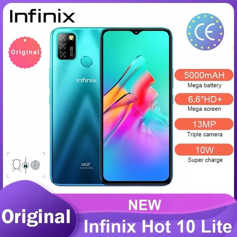 Infinix Hot 10 Lite Versão Global X657C 6.6 ''HD + 2GB 32GB 1600*720 Câmera 5000mAh 13MP Triplo 10WCharger Helio A20 Смартфоны