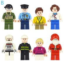8PC City Dolls Building Blocks Urban Occupational Person Series Doll Life Legoings Toys