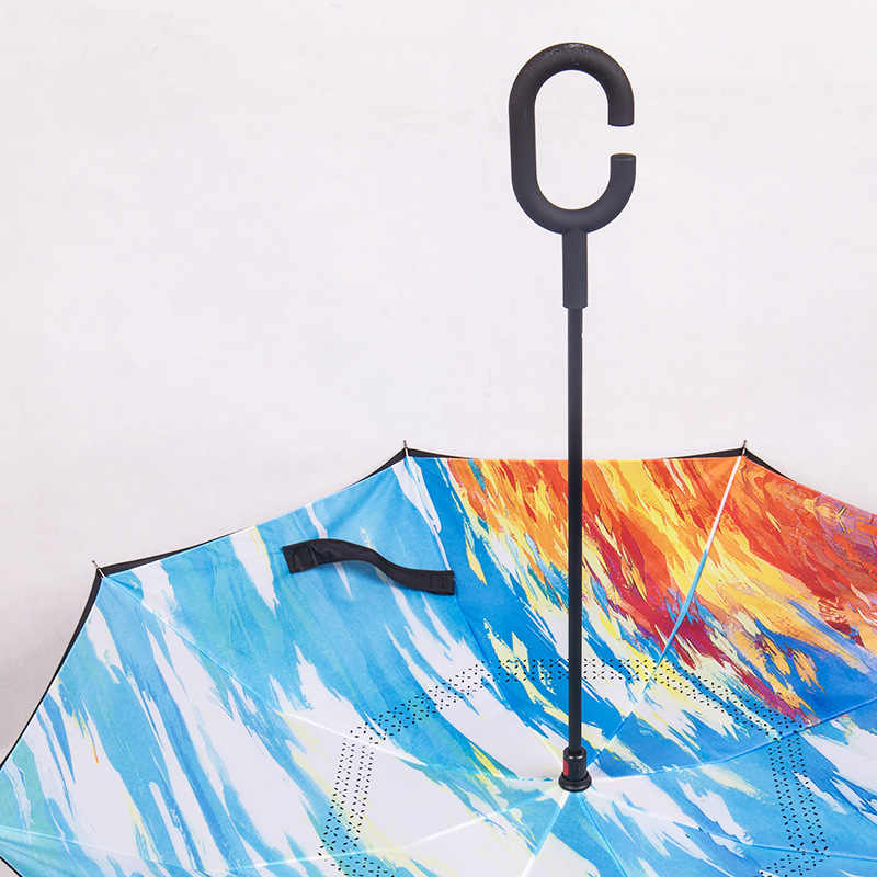 Rüzgar geçirmez katlanır çift katmanlı kadın yağmur şemsiye C kolu ters araba şemsiyesi kendini standı baş aşağı