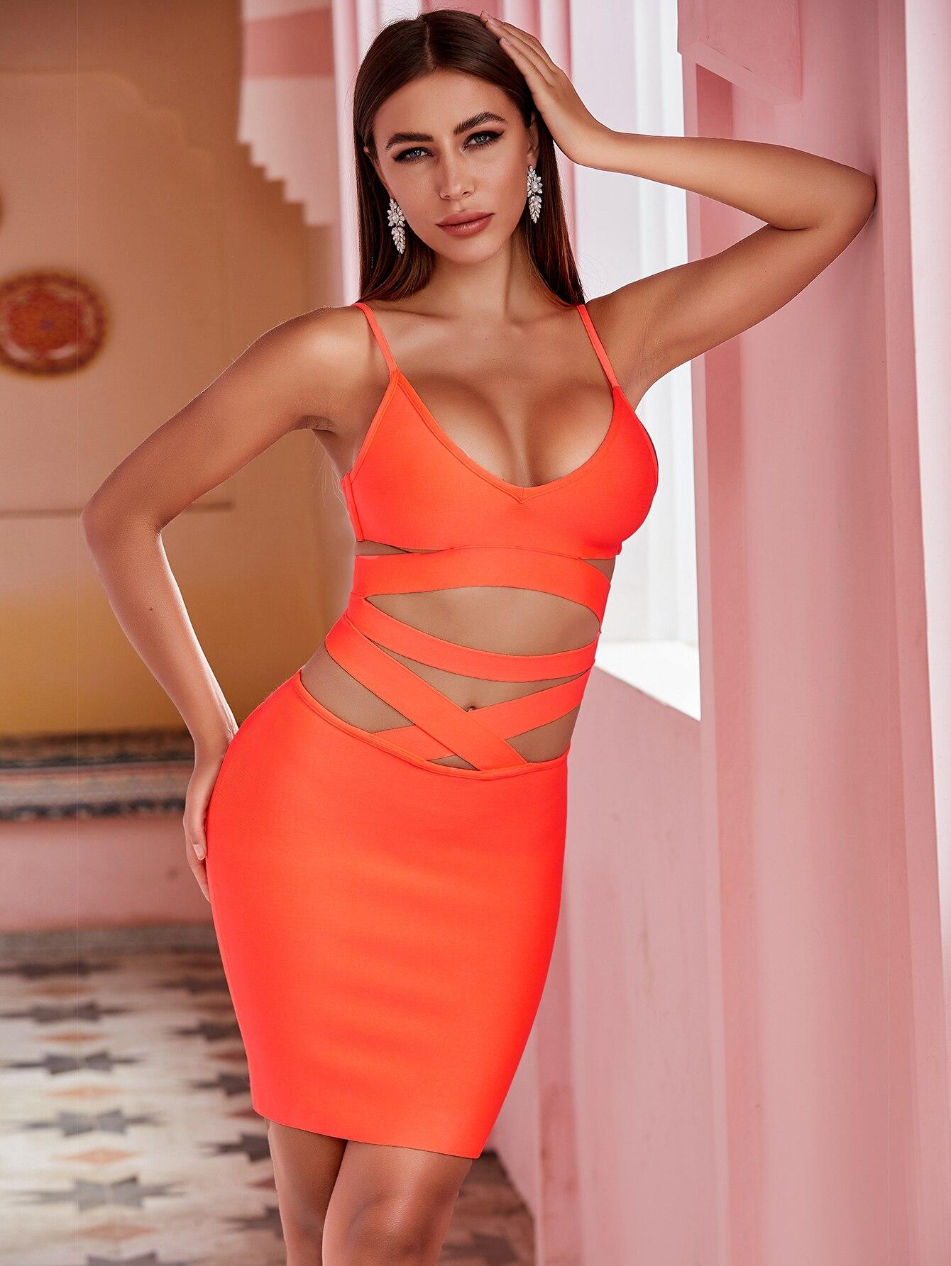 Newest Summer Fashion Sexy V Neck Cut Out Hollow Out Orange Bodycon Women Bandage Dress 2020 Elegant Evening Party Dress Vestido