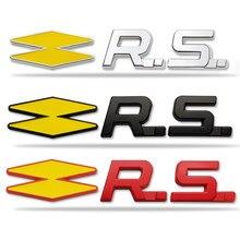 Metal rs emblema decoração adesivo para renault sport megane clio twingo rs linha duster logan laguna 2 captur koleos sandero