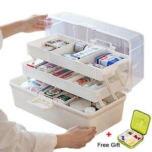 Image 1 - プラスチック製の収納ボックス医療ボックスオーガナイザー 3 層多機能ポータブル医学キャビネット家族緊急キットボックス