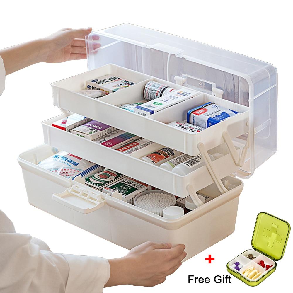 Kunststoff Lagerung Box Medizin Box Organizer 3 Schichten Multi-Funktionale Tragbare Medizin Schrank Familie Notfall Kit Box