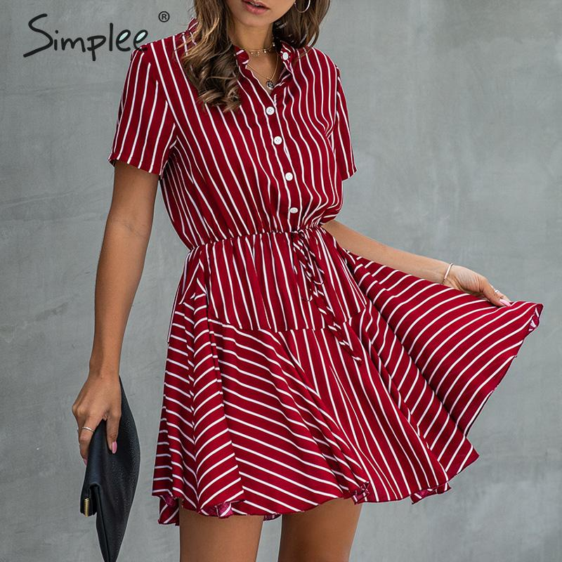 Simplee Plus Size Striped Women Dress Casual Cotton Button High Wasit A-line Summer Dress Lay Office Lapel Oversize Mini Dress