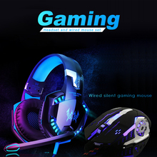 G2000 Gaming Headset +Wired Mouse Set Deep Bass Stereo Casque Wired Headphone Gamer Earphone with Microphone for PS4 PS5 XBOX cheap OUIO Over the Ear Dynamic CN(Origin) 105dB None 20mW 2 1m for Video Game HiFi Headphone Line Type up to 32 Ω 3 5mm 50mm