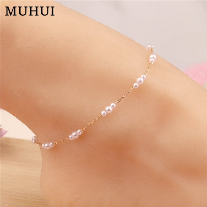 2020 New Simple Small Size Pearl Inlay Anklets For Women Bohemia Beach Beads Chain Anklet Bracelet Jewelry