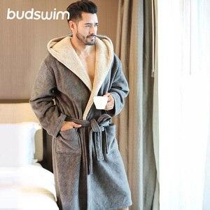 Зимний мужской банный халат размера плюс, фланелевый длинный халат с капюшоном, мужской удобный серый длинный теплый домашний халат, одежда...