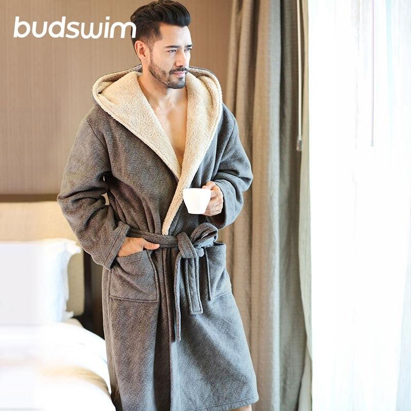 Winter Men Plus Size Bathrobes Hooded Flannel Long Bath Robe Male Comfort Gray Long Home Warm Dressing Gown Sleep Wear Nightwear