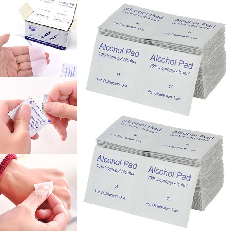 New 100pcs/Box Portable Alcohol Swabs Wipes Disposable Wound Disinfection Pad Antiseptic Cleaning Sterilization First Aid Home