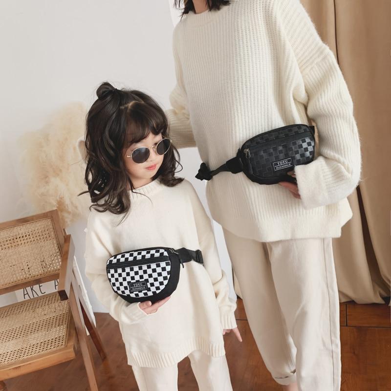 Maternal And Child Waist Bag Fashion Plaid Women Fany Pack Kids Shoulder Crossbody Bags Girl Boy Chest Bag Banana Belt Pouch