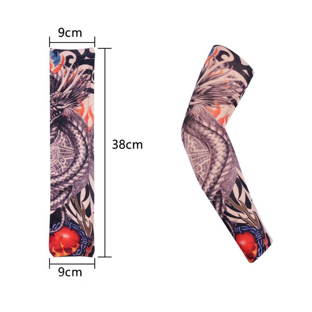 1 قطعة في الهواء الطلق الدراجات الأكمام ثلاثية الأبعاد الوشم مطبوعة الذراع أدفأ UV حماية الأكمام الكرتون طويلة الذراع كم قفازات للرجال النساء