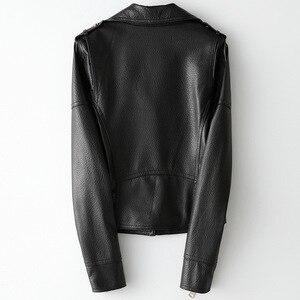 Image 2 - Printemps automne mouton veste en cuir court femmes manteau noir décontracté haute qualité véritable peau de mouton Locomotive Style vestes Outwear