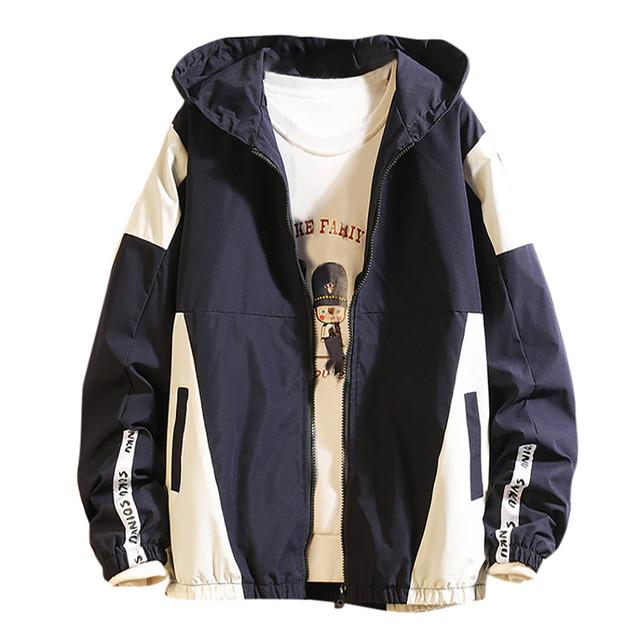 jacket men Autumn Casual Fashion Color Collision Hoodie Thin Jacket Zipper Coat Hip Hop coach streetwear jacket chaqueta hombre