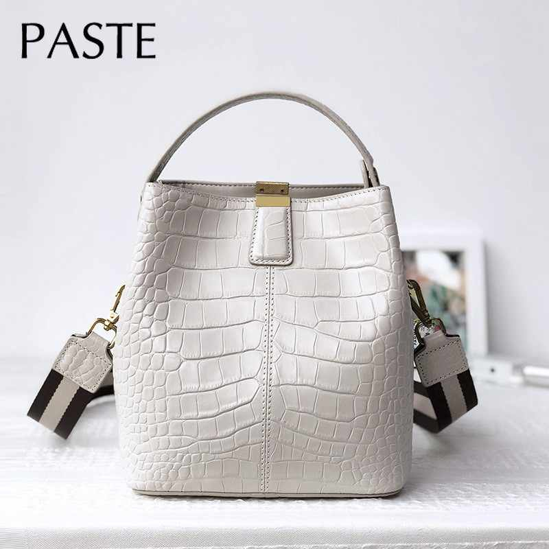 Elegant Chic Handtas Krokodil Patroon Koeienhuid Lederen Vrouwen Emmer Schoudertas 2 Band Dames Crossbody Bag Dropshiping