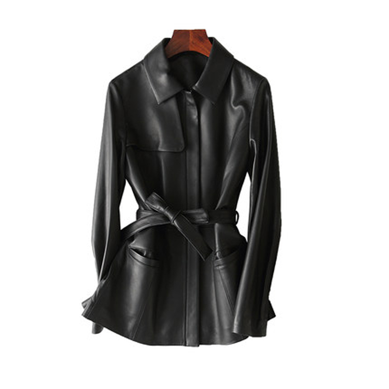 100% Genuine Leather Jacket Women Motorcycle Natural Sheepskin Coats Spring Autumn Real Leather Jackets With Belt chaqueta mujer
