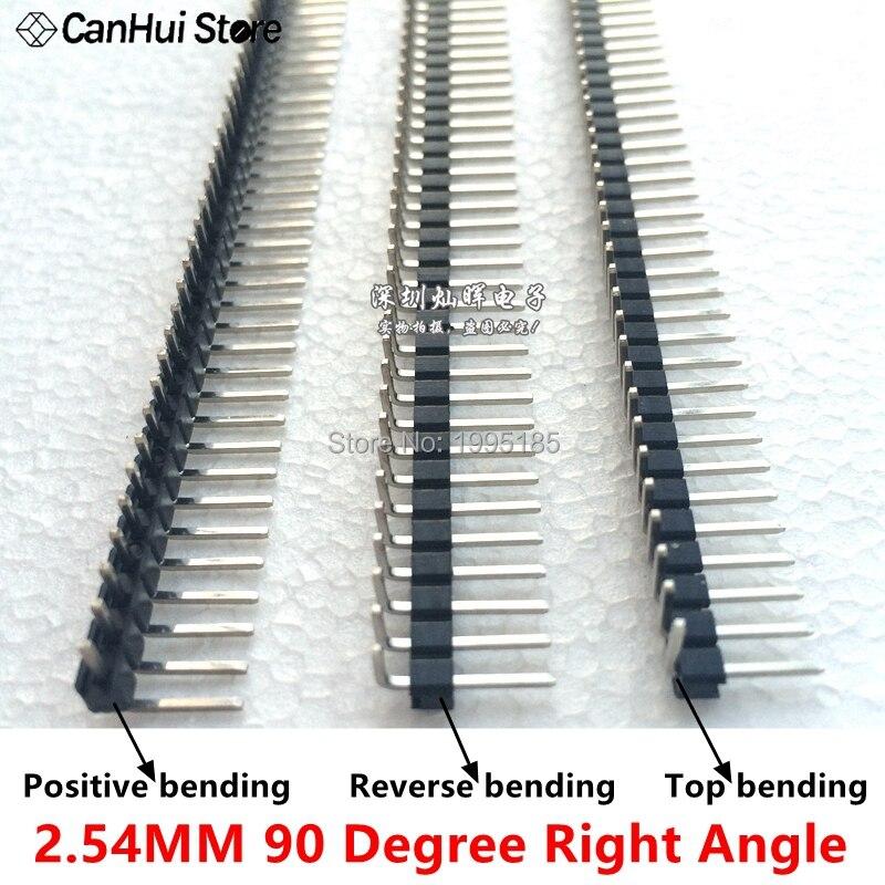 2,54 мм 1*40P 1X40P 90 градусов прямоугольный Однорядный штырьковый разъем, положительный/обратный/верхний изгиб печатной платы, разъем, штыревой р...