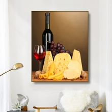 Canvas Art Painting Red Wine cake grapes still life Art Poster Wall Decor Modern Home Decoration For Living room Office Hotel