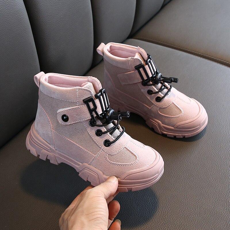 ULKNN Children's Marten Shoes Girl And Boy High-top Falts Shoes Kids  School Students Black Pink Warm Shoes
