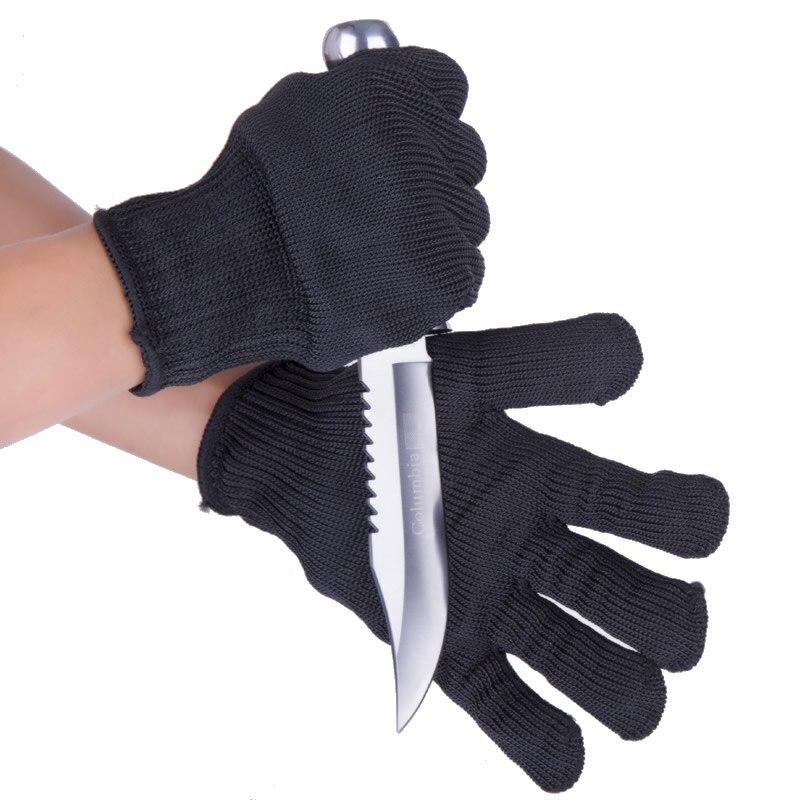 Guantes de seguridad laboral negros, 1 par, resistentes a Cortes, protectores de alambre de acero inoxidable, guantes anticortes de carnicero