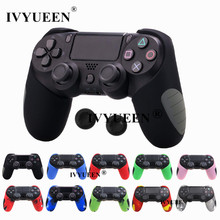 IVYUEEN 15 Colors for Playstation Dualshock 4 PS4 PRO Slim Controller Silicone Thicker Half Skin Case + 2 Thumb Stick Grip Caps