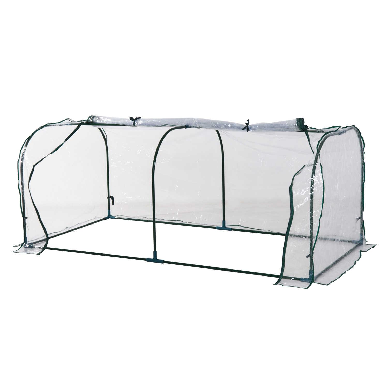 Outsunny Invernadero Caseta 200x100x80cm Acero Y Plastico Jardin Terraza Cultivo Plantas