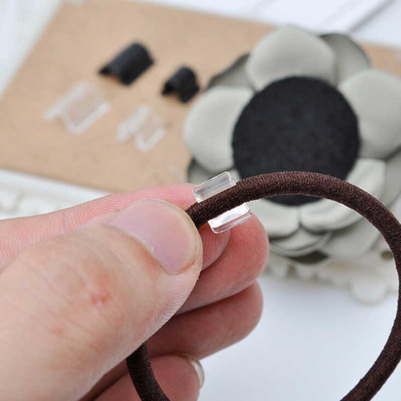 100 Uds Elasitc hebillas de goma para mujer niña DIY cinta para el cabello lazo circular accesorios de lazo herramienta de peluquería conector