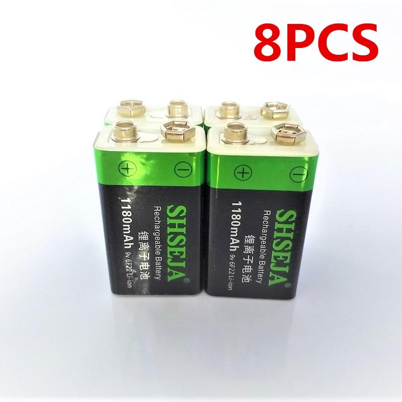8 pcs/lot 9V 1180mAh lithium ion batterie USB rechargeable batterie détecteur jouet ligne finder batterie rechargeable livraison gratuite-in Batteries rechargeables from Electronique    1