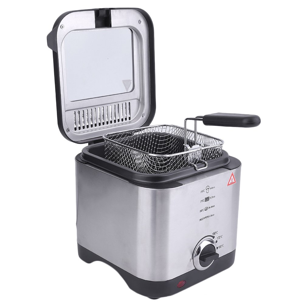 Compact 900W 1.5 Litre Chip Pan Basket Non Stick Oil Fry 900W Stainless Steel Deep Fat Fryer Kitchen Tools Drop Shipping