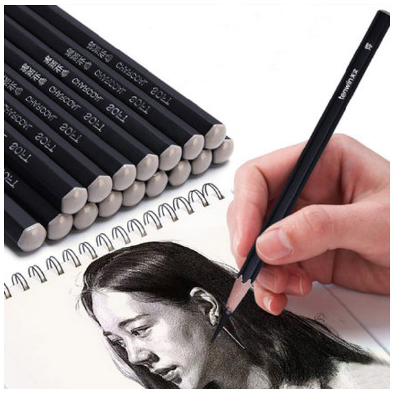 Tenwin MS5550 Sketch Charcoal Pen Soft/Medium/Hard 12pcs Wooden Pencils Sketch Drawing Painting Charcoal Pencils Art Supplies