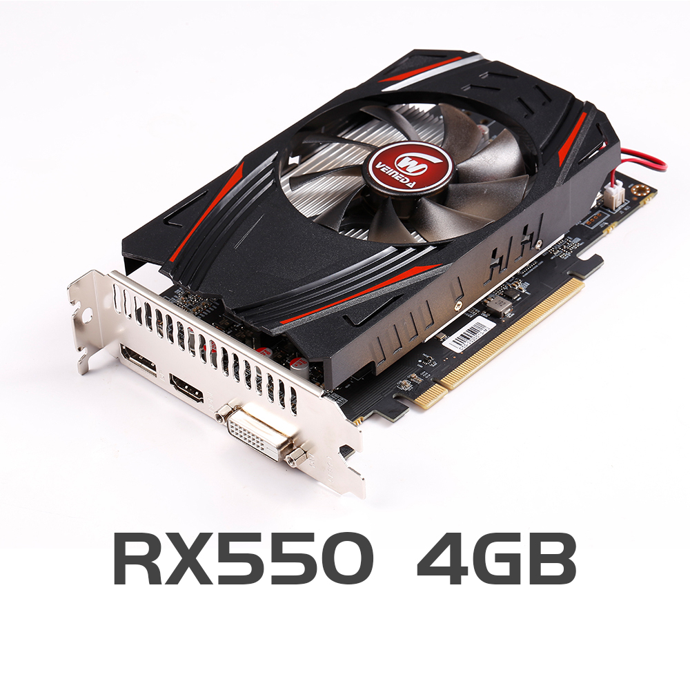 VEINEDA Original RX 550 4GB Video Cards GPU AMD Radeon RX550 4GB GDDR5 Graphics Cards PC Desktop Computer Game Map PCI E X16|Graphics Cards|   - AliExpress