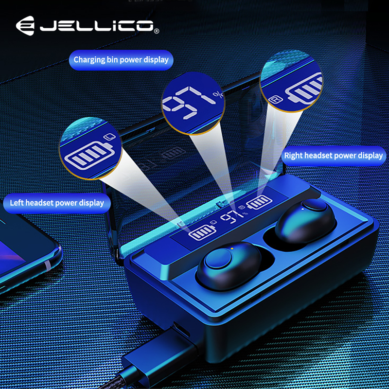 Jellico TWS <font><b>Earphone</b></font> <font><b>Bluetooth</b></font> 9D Stereo Wireless Headphones Headsets With LED Display Sport Earbuds Power Bank Phone <font><b>Holder</b></font> image