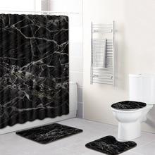Black and White Marble Pattern Shower Curtain/Bath Mat/Toilet Pad Set Anti-slip Toilet Carpet Flannel Bath Mat 4 Pcs Christmas flower pattern flannel nonslip bath mat