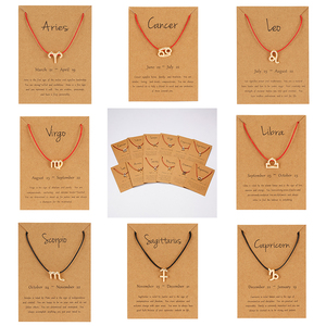 12 Constellation Zodiac Sign Red Black Braided Rope Counple Bracelets Leo Libra Woven Bracelet Trendy Jewelry For Men Women Gift