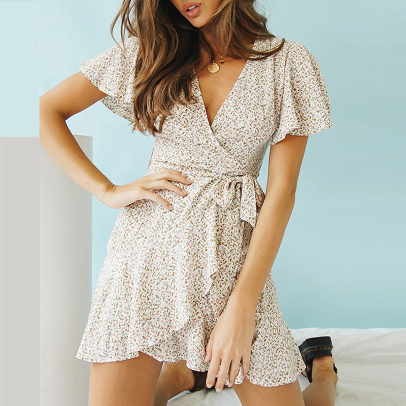 Summer 2020! Women Bohemian Style Print Mini Dress Sexy V Neck Vacation Beach Dresses Short Sleeve Ruffle Wrap Dress Vestidos