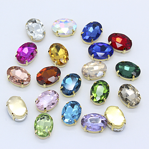 All-size Oval 24-colors glass stone flatback sew on crystal rhinestones jewels 4-Holes Beads gold claw buckle for Wedding Dress(China)