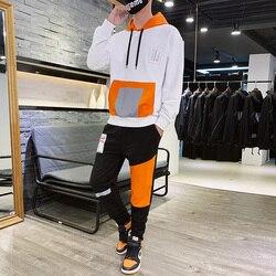Hombre con capucha chándal de algodón para primavera otoño sudaderas deportes traje de dos piezas pantalón Tuta deportiva Uomo hombres de manga larga conjunto h50tz