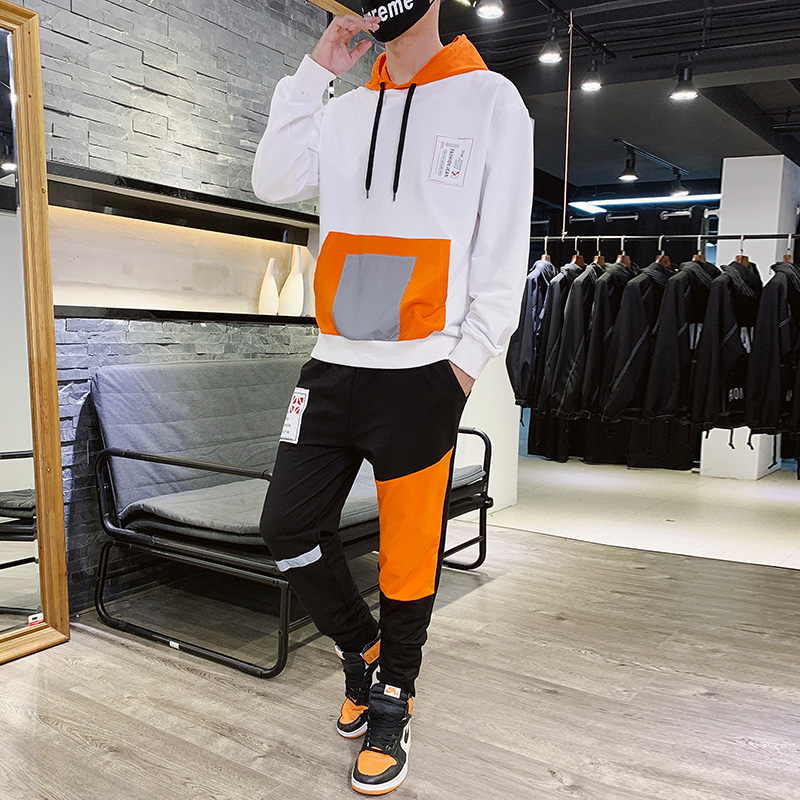 Man Hooded Tracksuit Cotton For Spring Autumn Hoodies Sports Two Piece Suit Pant Tuta Sportiva Uomo Men Long Sleeve Set HH50TZ