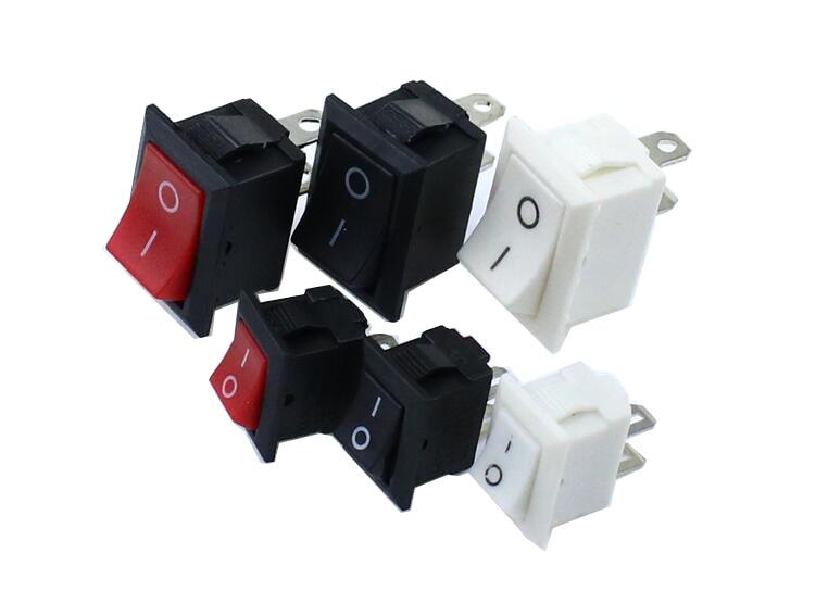 Interrupteur à Bouton-poussoir 10x15mm /15x21mm SPST 2Pin KCD11 KCD1 Interrupteur à Bascule Pour Bateau Encliquetable 10MM * 15MM Noir Rouge Et Blanc