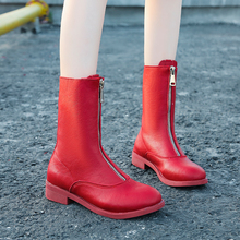 2019 New Martin Boots Colorful Fashion Combat For Women Autumn Ankle Red Leather Black White Platform Punk