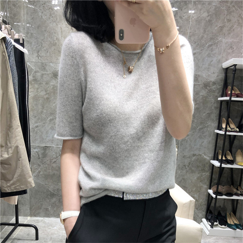 women's round neck knitted T-shirt solid color knitted pullover fashion all-match short-sleeved sweater five-point sleeve summer
