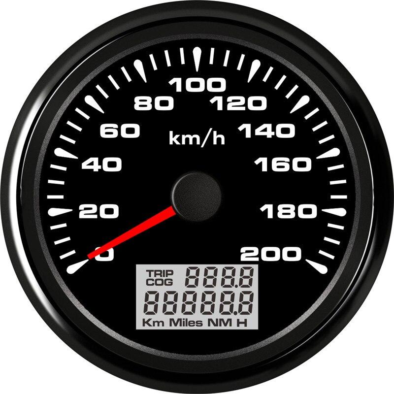 85 ミリメートルのデジタル Gps スピードメーターゲージ毎時 120 キロ毎時 200 キロ防水速度ゲージ 7 色バックライト 12 V-24 V gps snelheidsmeter