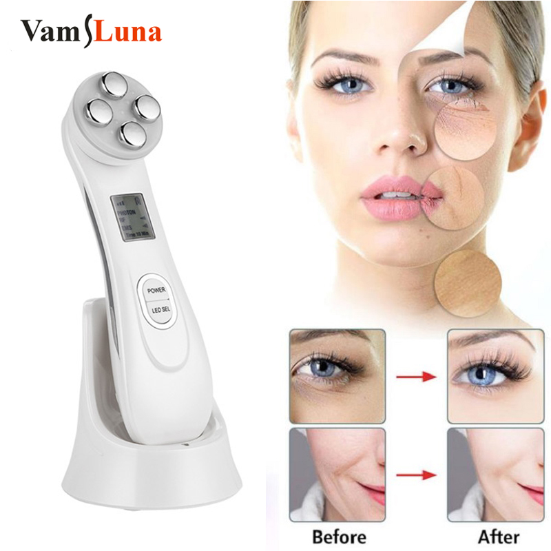 Face Skin EMS Mesotherapy Electroporation RF Radio Frequency Facial LED Photon Skin Care Device Face Lifting Tighten Massager