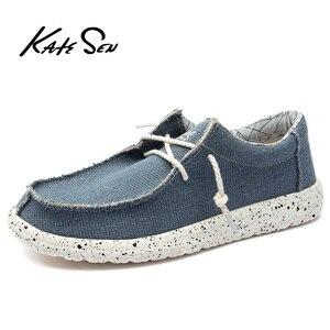 Image 3 - KATESEN 2020 קיץ גברים של נעלי בד קל משקל לנשימה להחליק על נעליים יומיומיות אופנה חוף חופשת ופרס גדול גודל 48