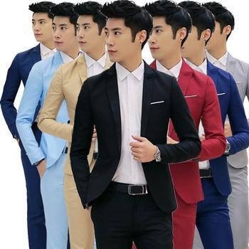 Men\'s Fashion One Button Suit Coat Wedding Business Casual Slim Lapel Jacket Blazer Korean Style Slim Men Suit Coat Casual Suit