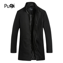 Pudi Men Coat Winter Thick Warm Wool Coat Men Clothes 2019 Slim Fit Coat Mandarin Collar Jacket Mens Overcoat Mens Coats QY903 цена